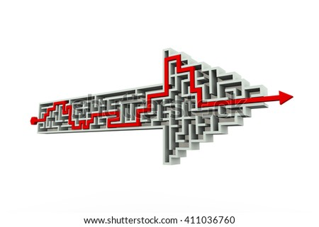 3d perspective rendering of solved labyrinth puzzle maze created in arrow shape  - stock photo