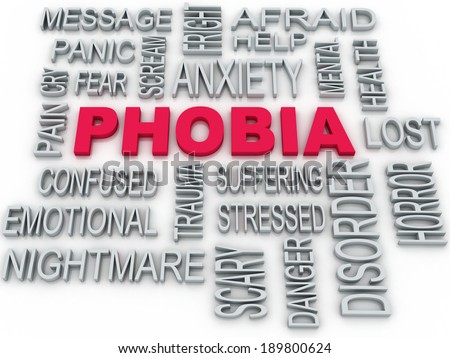 3d Phobia symbol conceptual design isolated on white. Anxiety disorder concept - stock photo