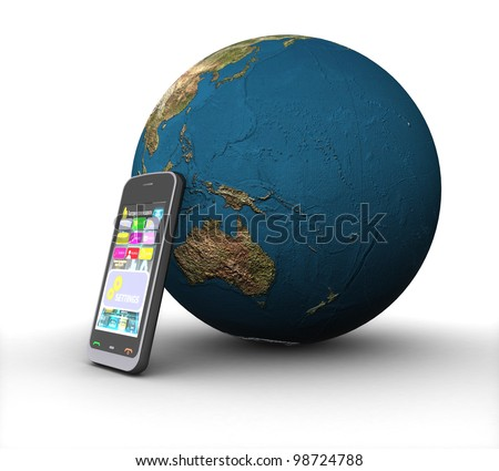 3D phone and land on a white background isolated - stock photo