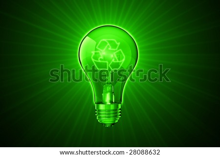 3D photo-realistic illustration of a glass lightbulb with a recycle filament