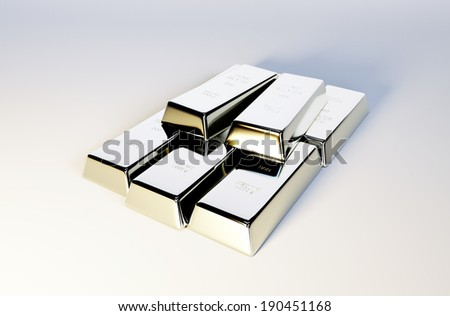 3d photo realistic image of silver bars  - stock photo