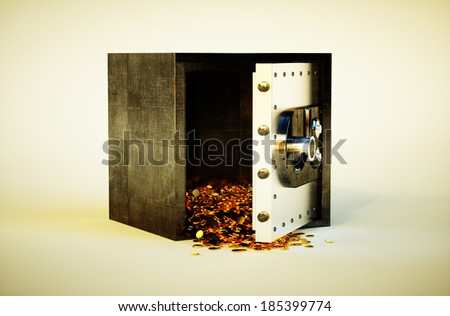 3d photo realistic vivid image of safe deposit box with golden coins - stock photo