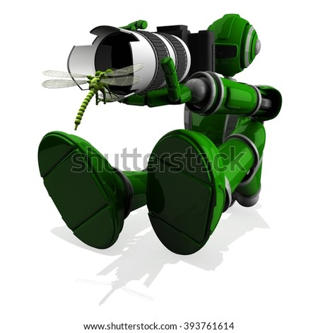 3D Photographer Robot Green Color With DSLR Camera and Dragonfly in front of lens
