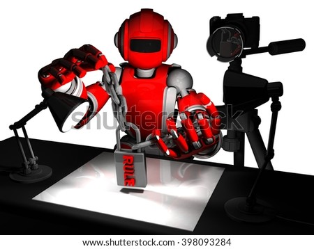 3D Photographer Robot, Red Color, Concept Rule Of Photography
