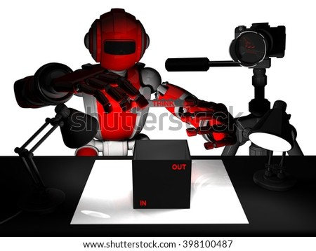 3D Photographer Robot, Red Color, Illustration Thinking Outside The Box Or Inside The Box, Photography