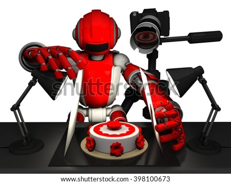 3D Photographer Robot, Red Color, Setting Up Food Photography, Cake