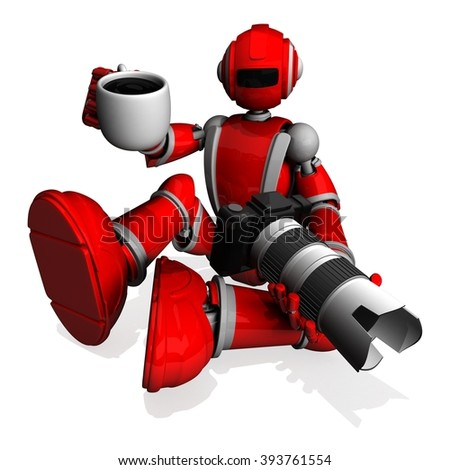 3D Photographer Robot Red Color With DSLR Camera and Holding A Cup Of Coffee