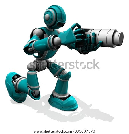 3D Photographer Robot Turquoise Color Pose With Flat Camera And White Zoom Lens