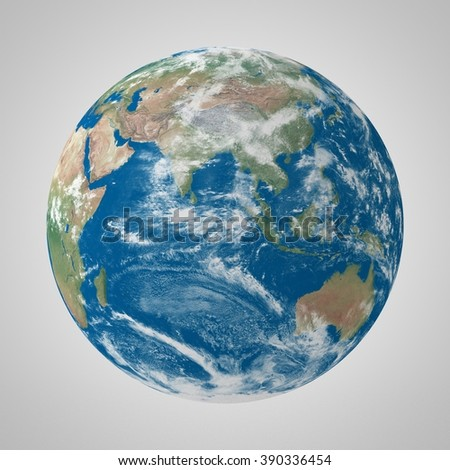 3D Photorealistic  Render of Planet Earth on a cloudy day. Elements of this image furnished by NASA. - stock photo