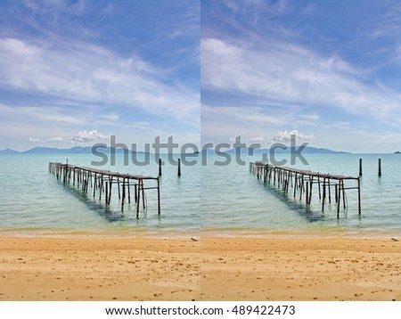 3D picture without eyeglasses of wooden bridge into the sea