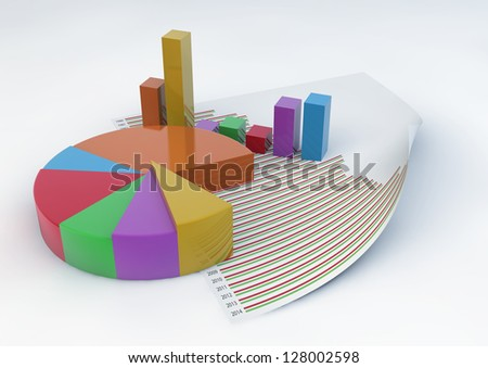 3d Pie Chart and Bars with a statistic document paper isolated on white background - stock photo