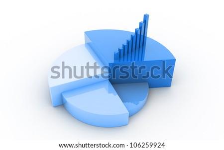 3d Pie chart business concept - stock photo