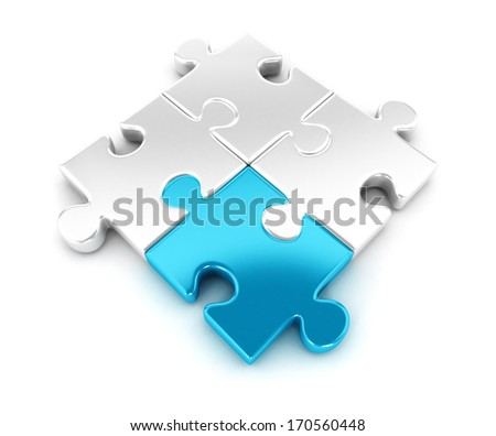 3d pieces of puzzle, isolated white background, 3d image - stock photo
