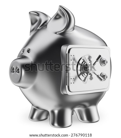 3d Piggy bank. Safe savings concept. Isolated white background. - stock photo