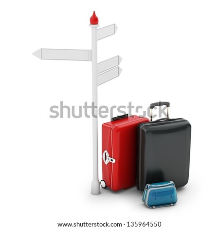 3d pile of luggage by a sign on white background
