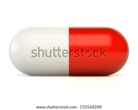 3d pill isolated on white - stock photo