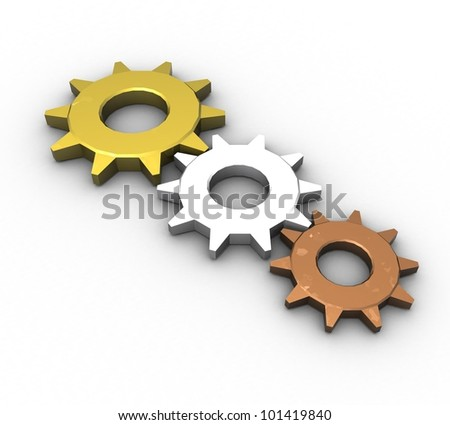 3d pinion from gold, bronze and silver on a white background isolated