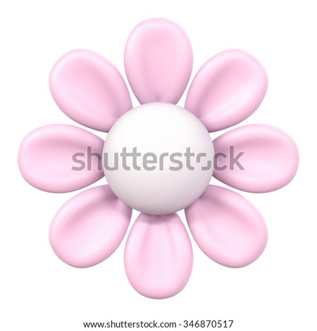 3D Pink flower Plasticine modeling clay, object isolated