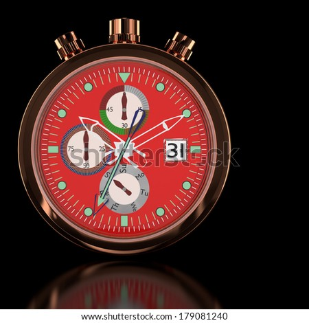 3d pink gold watch in the background. - stock photo