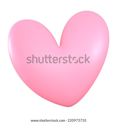 3D Pink heart color, isolated - stock photo