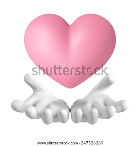 3D Pink Heart float on hand front view, illustration object isolated  - stock photo