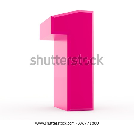 3d pink number 1 collection on white background