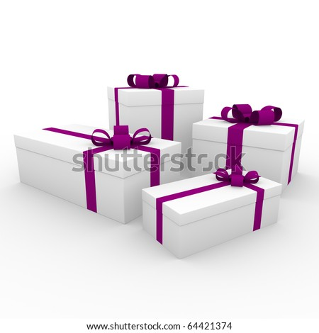 3d pink purple white gift box isolated on white background - stock photo