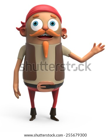 3d pirate - stock photo