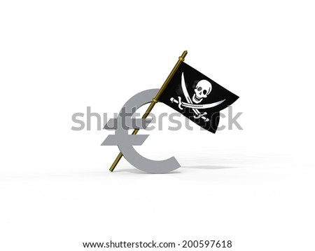 3d pirate flag stuck in the euro - stock photo