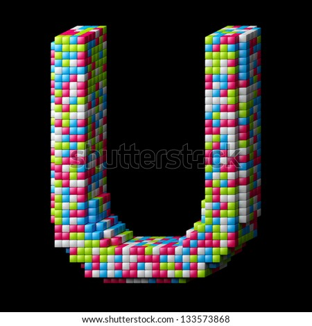 3d pixelated alphabet. Letter U made of glossy cubes isolated on black. - stock photo