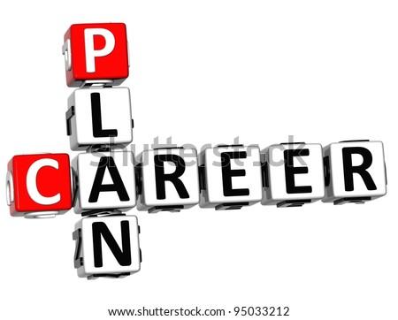 3D Plan Career Crossword on white background - stock photo