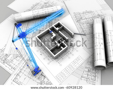 3D plan drawing - stock photo
