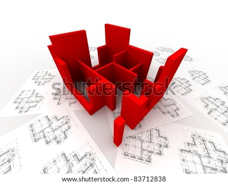 3D plan on top of architecture blueprints - stock photo