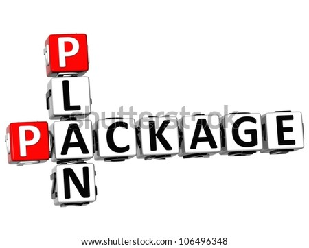 3D Plan Package Crossword on white background
