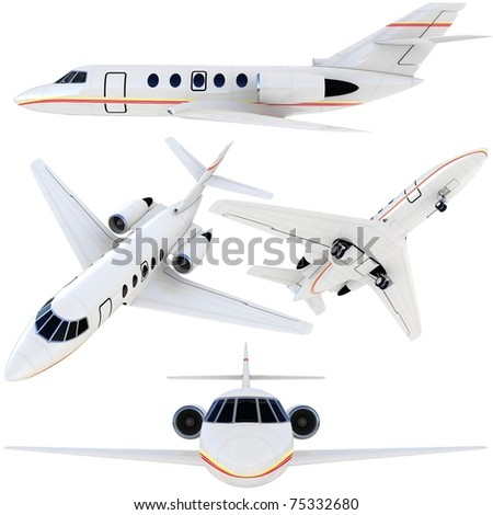3d plane collection isolated on white background - stock photo