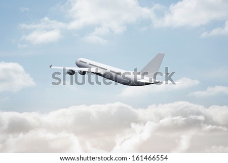 3D plane flying in the sky