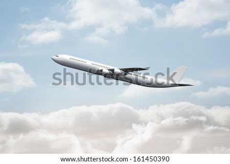 3D plane taking off in the sky