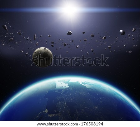 3D Planet Earth with Moon and Asteroids. Elements of this image furnished by NASA. - stock photo