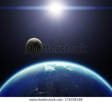 3D Planet Earth with Moon and Sun. Elements of this image furnished by NASA. - stock photo