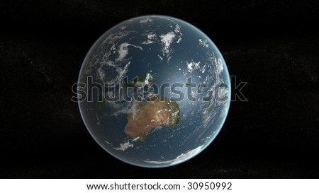 3d planet of earth and stars in background