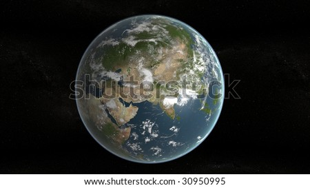 3d planet of earth showing middle east and stars in background - stock photo
