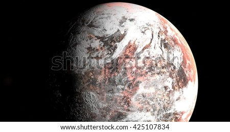 3D planet, red world