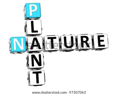 3D Plant  Nature Crossword text over white background