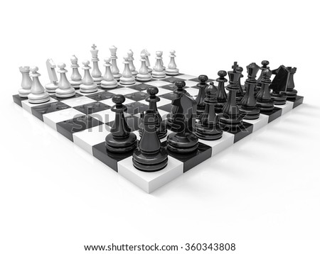 3D Plastic Chess Background. Isolated Game Illustration.