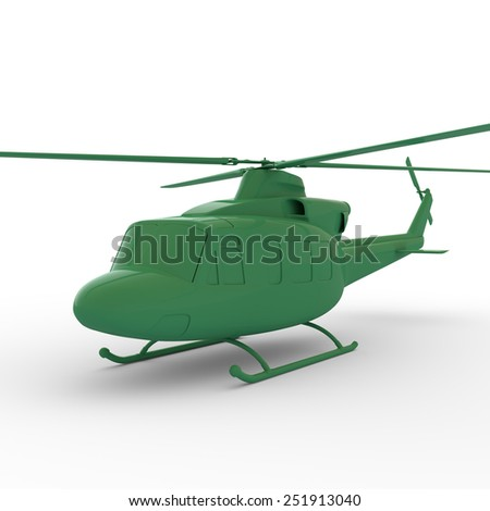 3D plastic toy helicopter isolated - stock photo