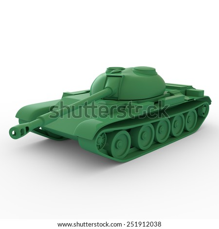 3D plastic toy tank isolated - stock photo