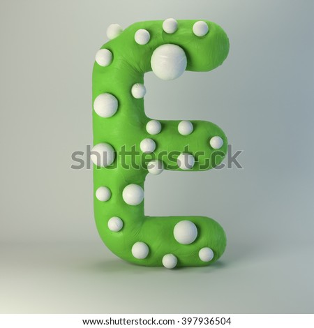 3d Plasticine handmade font. Cute cartoon children's style figures with white polka dots. Bright lime green uppercase letter E, isolated on white background. - stock photo