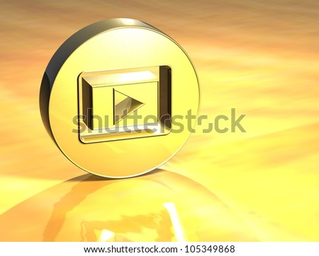 3D Play Gold Sign over yellow background - stock photo