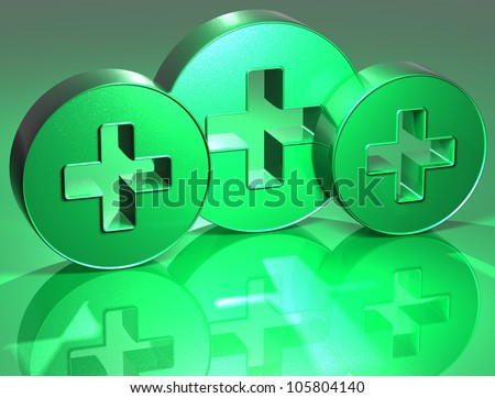 3D Plus Green Sign over yellow background - stock photo