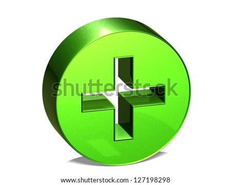 3D Plus Red Sign over white background - stock photo
